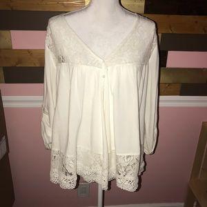 Perfect Karen Kane Lace Blouse Shirt Ivory XL Cute